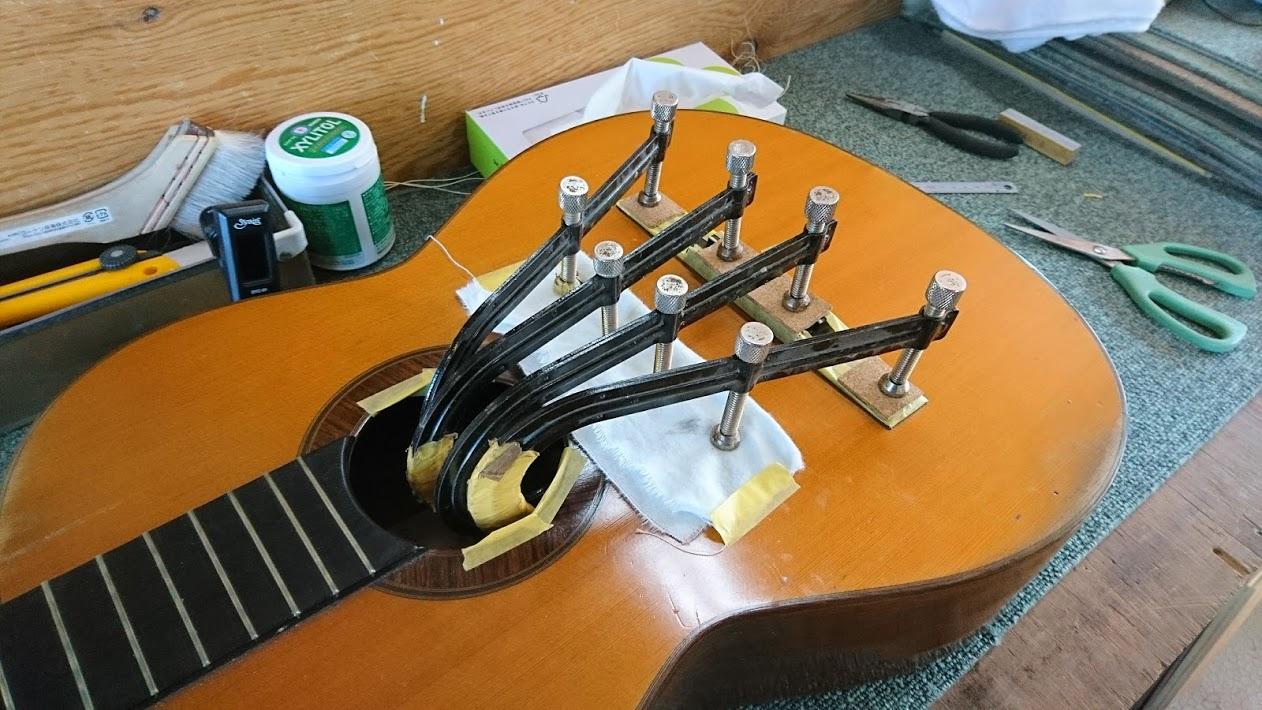 クラシックギター ブリッジ接着
